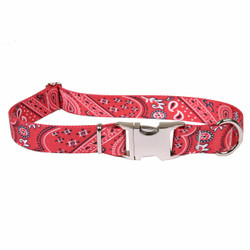 Bandana Red Premium Metal Buckle Dog Collar