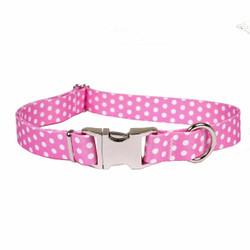Polka Dot New Pink Premium Metal Buckle Dog Collar