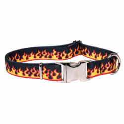 Red Flames Premium Metal Buckle Dog Collar