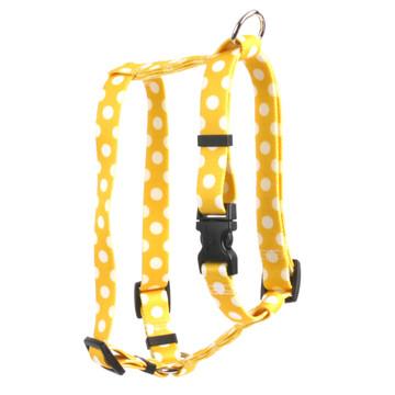 "Lemon Polka Dot Roman Style ""H"" Dog Harness"