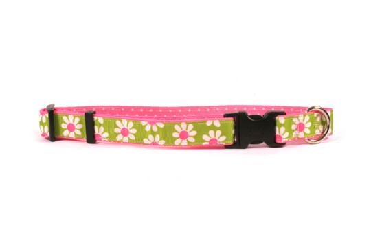 Green Daisy on Pink Polka Grosgrain Ribbon Collar
