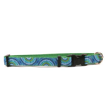 Radiance Blue on Kelly Green Grosgrain Ribbon Collar