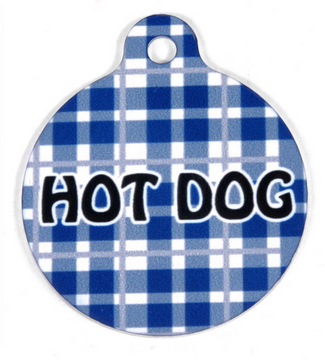 Preppy Boy Blue Plaid HD Pet ID Tag