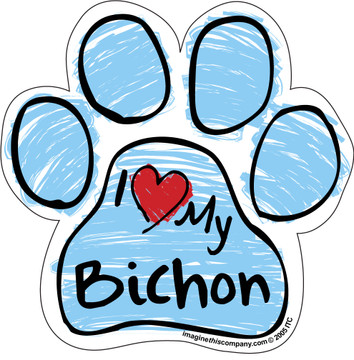 I Love My Bichon BLUE Scribble Paw Magnet