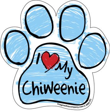 I Love My Chiweenie BLUE Scribble Paw Magnet