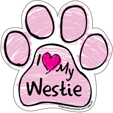 I Love My Westie PINK Scribble Paw Magnet