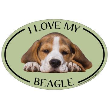 I Love My Beagle Colorful Oval Magnet