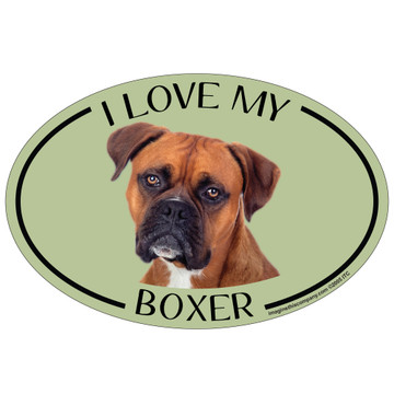 I Love My Boxer Colorful Oval Magnet