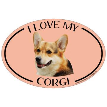I Love My Corgi Colorful Oval Magnet
