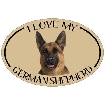 I Love My German Shepherd Colorful Oval Magnet