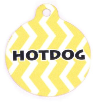 Lemon Chevron Stripe HD Pet ID Tag