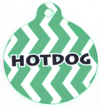 Lime Chevron Stripe HD Pet ID Tag