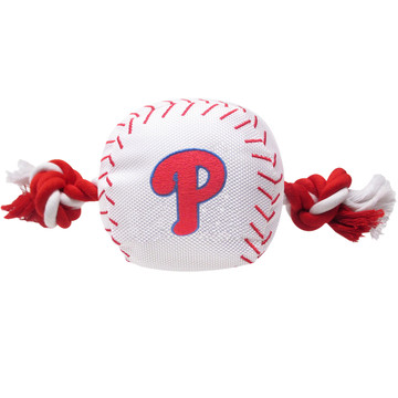 Philadelphia Phillies Nylon Rope Baseball Squeaker  Dog Toy