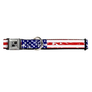 United States Flag Buckle-Down Seat Belt Buckle Dog Collar