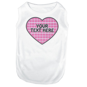 Personalized Preppy Girl Plaid Heart Pet T-Shirt