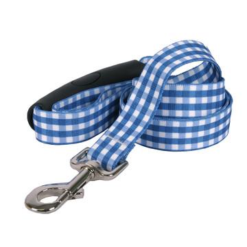 Southern Dawg Gingham Navy Blue Premium Dog Leash