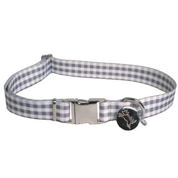 Southern Dawg Gingham Gray Premium Dog Collar