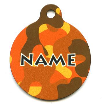 Orange Camo HD Pet ID Tag