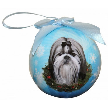 Shih Tzu Black and White Glossy Round Christmas Ornament **CLEARANCE**