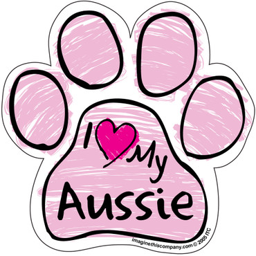I Love My Aussie PINK Scribble Paw Magnet
