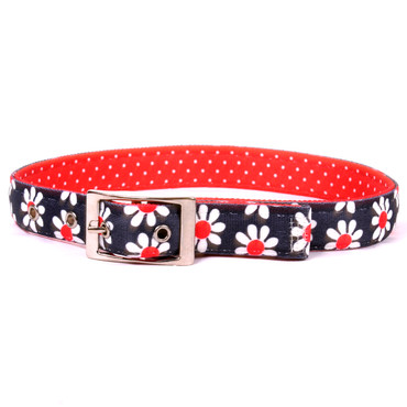 Black Daisy Uptown Dog Collar