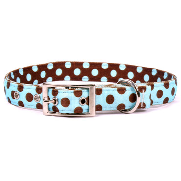 Blue and Brown Polka Dot Uptown Dog Collar