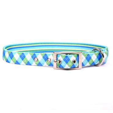 Blue and Green Argyle Uptown Dog Collar