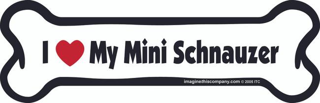I Love My Mini Schnauzer Bone Magnet