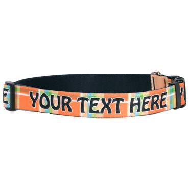 Personalized Madras Plaid Orange Dog Collar
