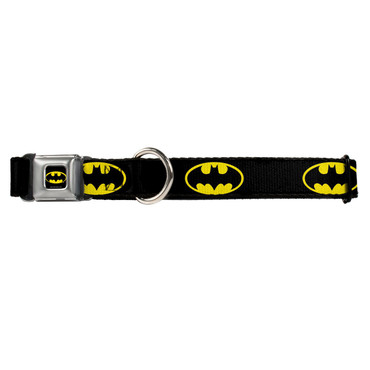 Batman Shield Black and Yellow Buckle-Down Seat Belt Buckle Dog Collar