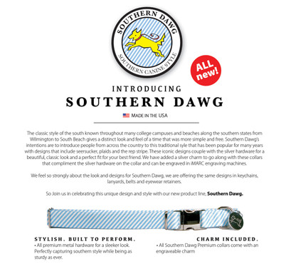 Southern Dawg Seersucker Blue with Labs Premium Dog Collar