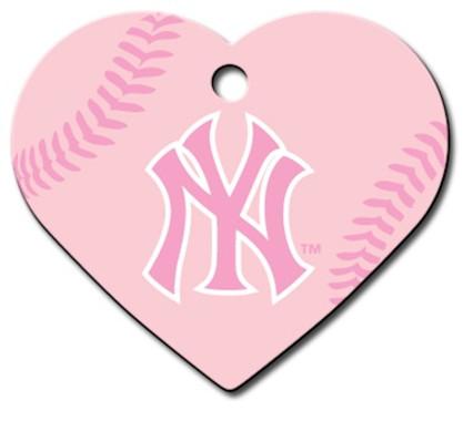 PINK NY Yankees Engraved Pet ID Tag
