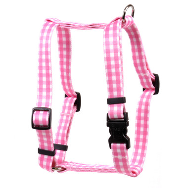 """Gingham Pink Roman Style """"H"""" Dog Harness"""