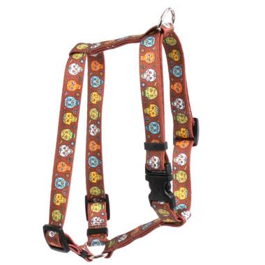 "Candy Skulls Roman Style ""H"" Dog Harness"