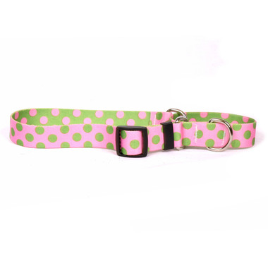 Pink and Green Polka Dot Martingale Dog Collar