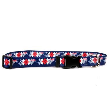 New England Patriots Argyle Dog Collar