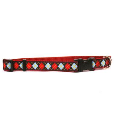 Red Argyle on Red Grosgrain Ribbon Collar