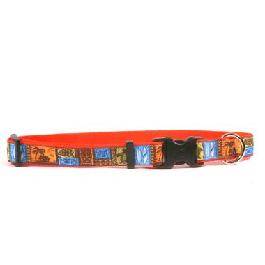 Tiki Print on Orange Grosgrain Ribbon Collar