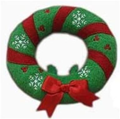Holiday Wreath Plush Squeaker Dog Toy