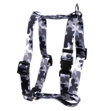 "Black and White Camo Roman Style ""H"" Dog Harness"