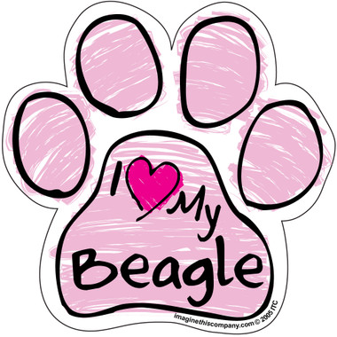 I Love My Beagle PINK Scribble Paw Magnet