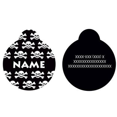 Black Skulls HD Pet ID Tag