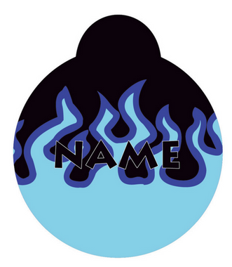 Blue Flames HD Pet ID Tag