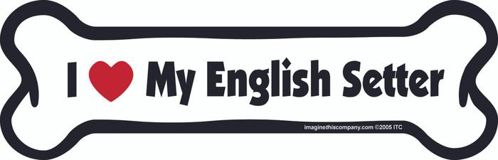I Love My English Setter Bone Magnet