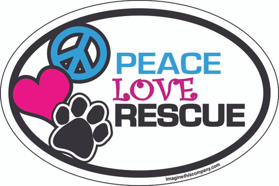 Peace Love Rescue Oval Magnet
