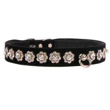 black Starlight Filigree Crystal Dog Collar
