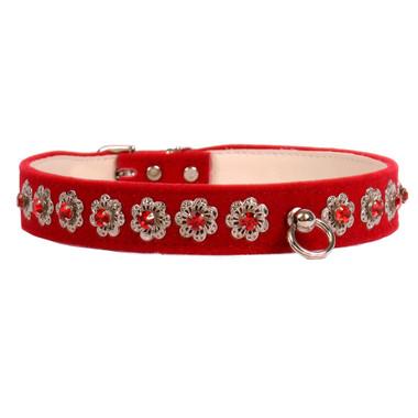 red Starlight Filigree Crystal Dog Collar