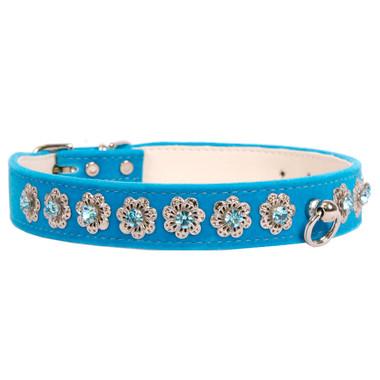 Turquoise Starlight Filigree Crystal Dog Collar