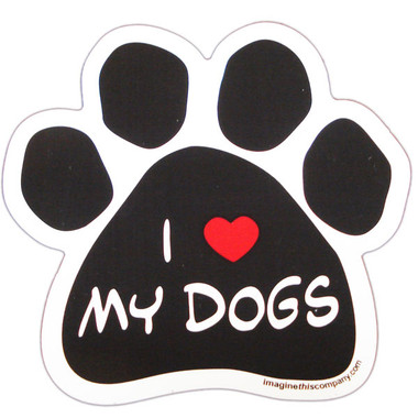 I Love My Dogs Paw Magnet