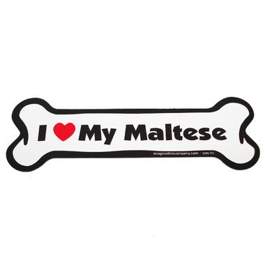 I Love My Maltese Bone Magnet